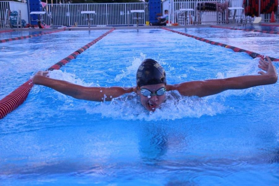 Keyboard senior Abigail Schirmer swims the butterfly during a practice at Gaines Park. Even though Schirmer placed in the Freestyle swim event, she still likes to practice all the different swim strokes.