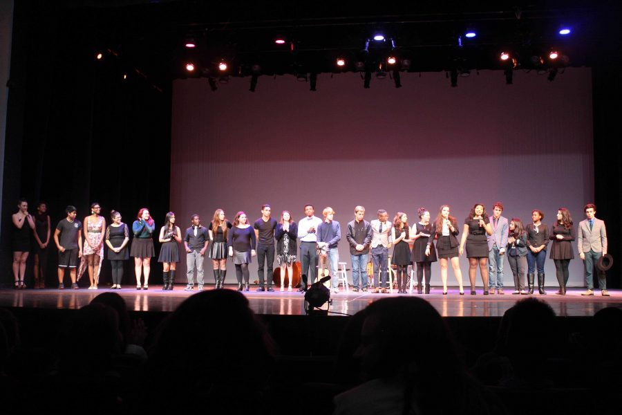 All backstage crew and talent join communications seniors Valeria Rivadeneira (7th from right) and Hanai Garcia (6th from right) in taking a bow as they thank the audience for attending the DreyFusion talent show.