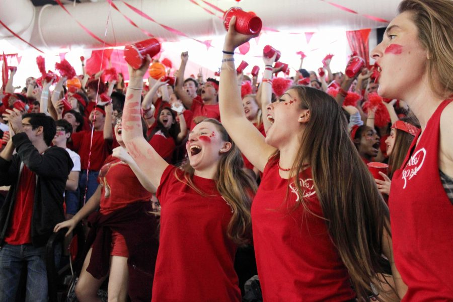 The junior class cheers for their grade at this year's pep rally.