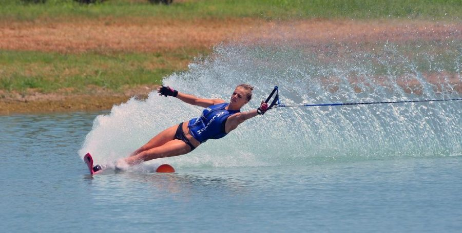 Visual senior Smantha Dumala during her waterskiing practice.