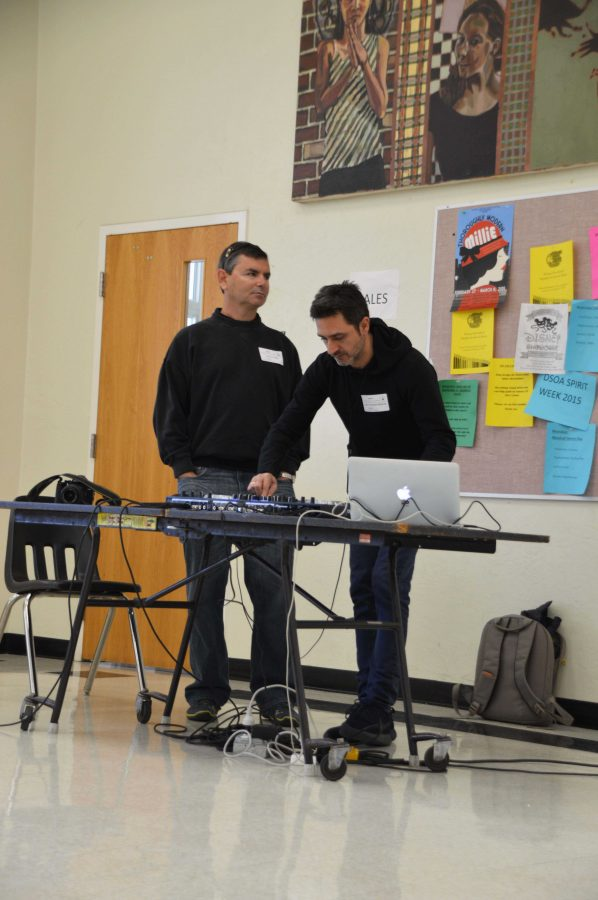 DJ Funky Fish plays music for Dreyfoos students during lunch.