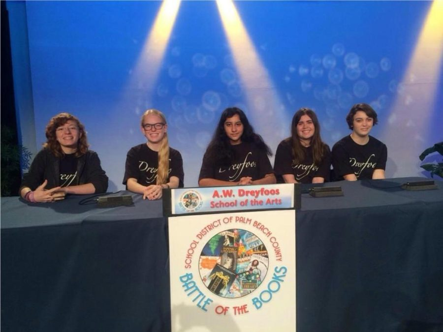 Communications sophomore Brianna Steidle,   strings sophomore Emily Winters, communications sophomores Uma Raja,  Megan Horan,  Sam Marshall (L-R) ready to compete in the Grand Battle at the Education Network studio in Boynton Beach.