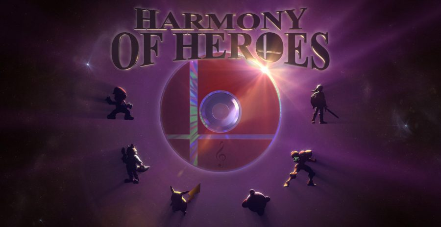 The+official+artwork+for+%22Harmony+of+Heroes%22+features+the+silhouettes+of+Nintendo+stars+%28L-R%29+Mario%2C+Fox%2C+Pikachu%2C+Kirby%2C+Samus+and+Link.