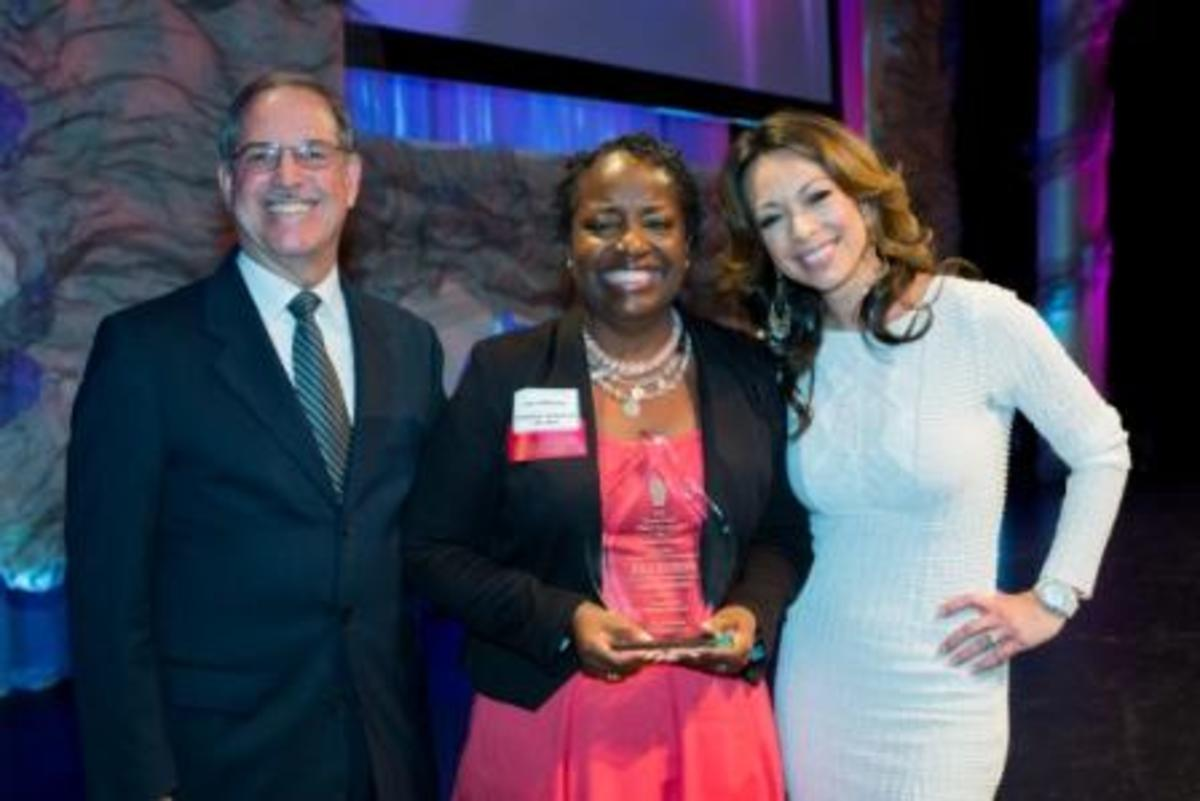 Social studies teacher Lea Jefferson being honored with the Dwyer Award in 2013.