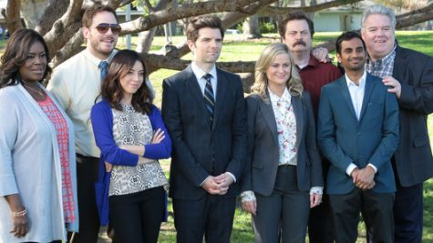 """Rhetta (left), Chris Pratt, Audrey Plaza, Adam Scott, Nick Offerman, Aziz Ansari and Jim O'Heir pose as their characters in a last photo together in the """"Parks and Recreation"""" finale, """"One Last Ride."""""""