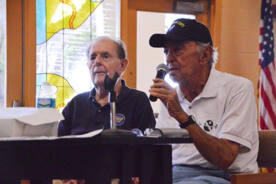 Sid Katz (L-R) and Warren Klein speak about their WWII experiences to Dreyfoos students.