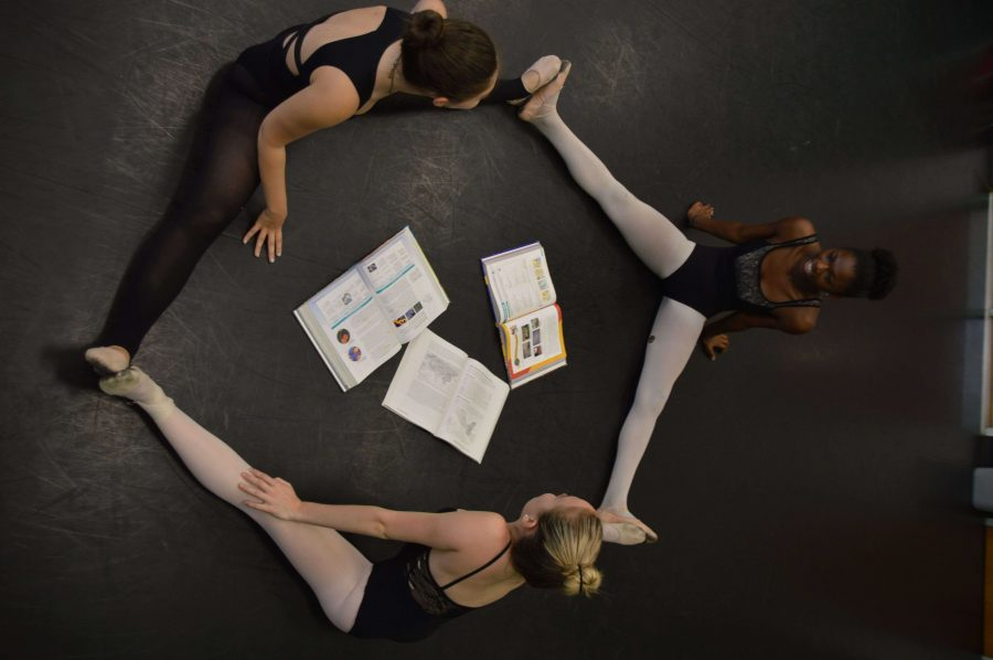 Dance sophomores Makai Bogle, (right) Amanda Pagano (top) and Merrill Carr (bottom) show how arts college auditions require students to undertake the challenge of balancing arts and academics.