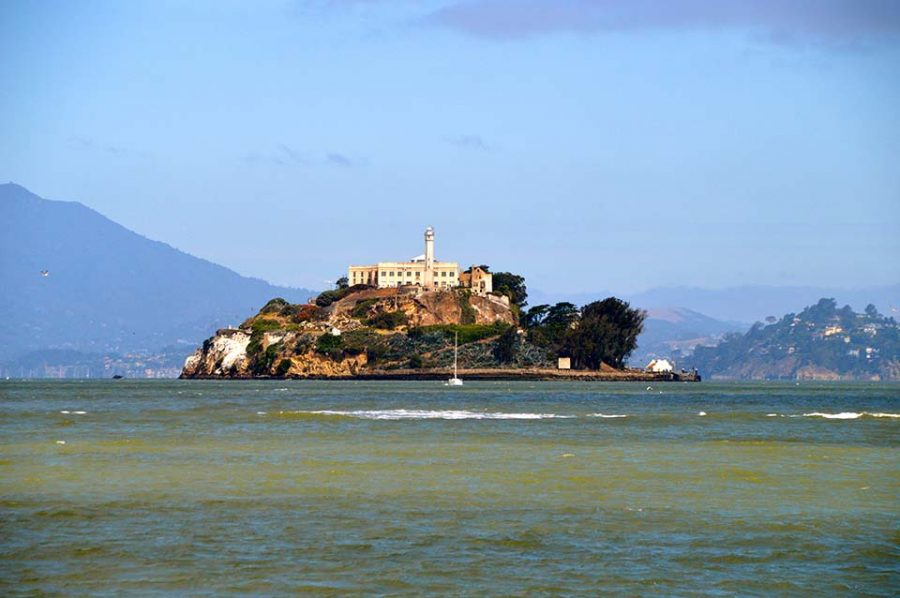 Alcatraz Island, located in the San Francisco Bay, just offshore from San Francisco, California.