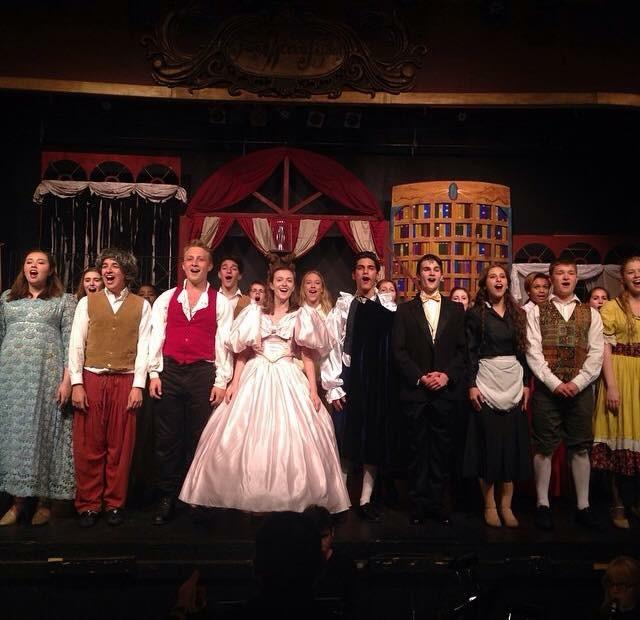 Suskauer+%28pictured+in+white%29+takes+bows+with+the+cast+of+%22Beauty+and+the+Beast.%22