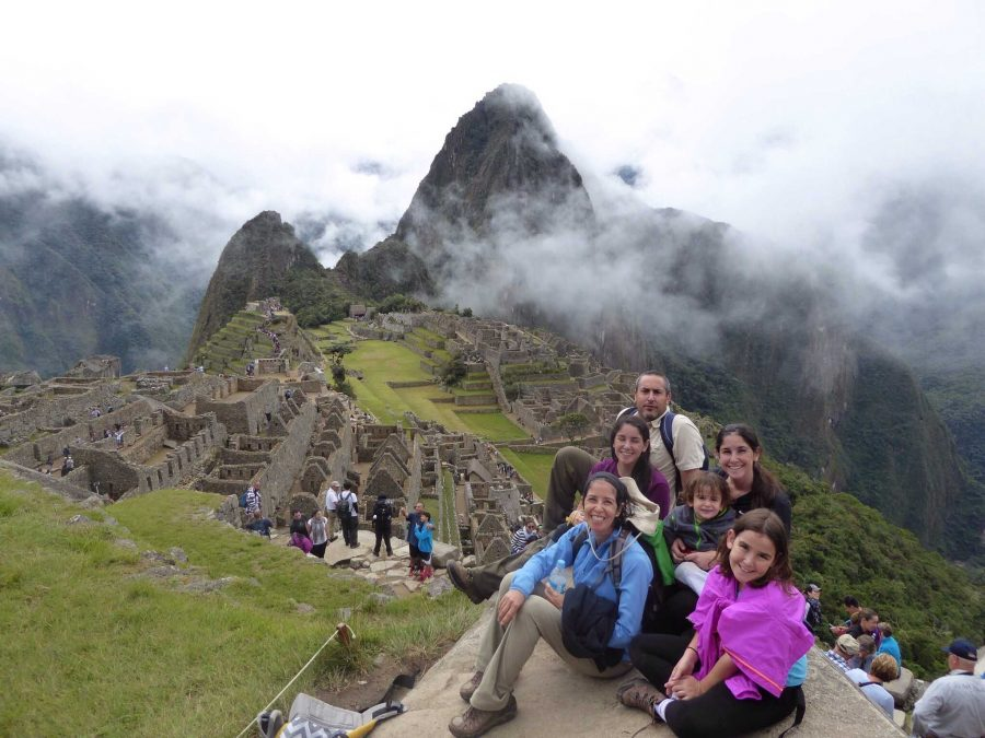 Kapitulnik with her family in front of Machu Picchu.