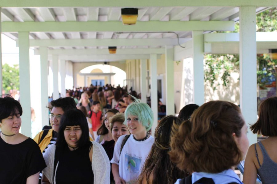 Students crowd the hallways during lunch on the first day of school.