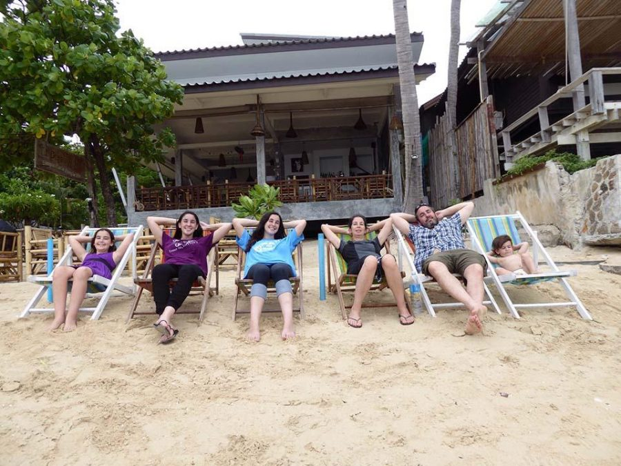 Communications junior Tom Kapitulnik with her family in Thailand, one of their many travel destinations.