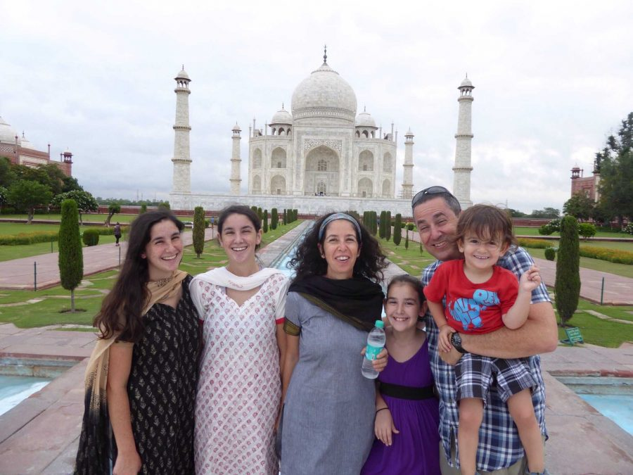 Communications junior Tom Kapitulnik (second from left) stands with her family in front of the Taj Mahal.