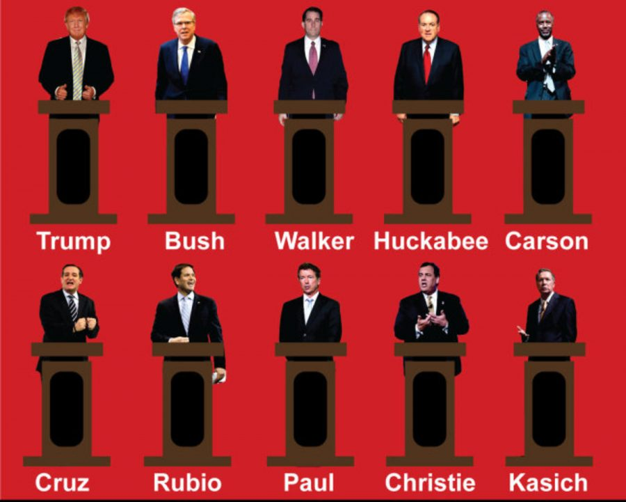 The Republican lineup of the GOP presidential candidate debate airing on FOX News.