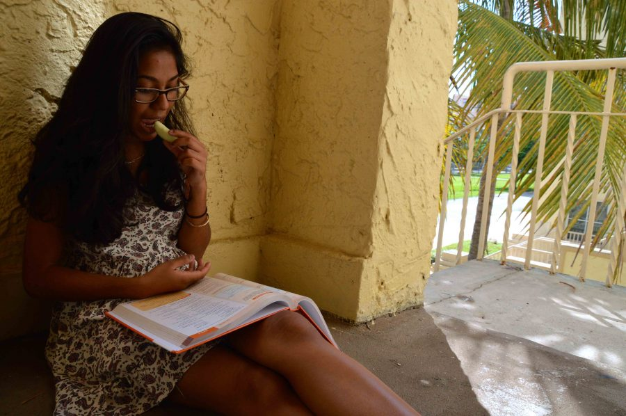 Communications junior Krystal Sundar hides from the Florida heat while studying for her upcoming French test on the second floor of Building 1. Sundar enjoyed sitting in this particular area during her sophomore year.