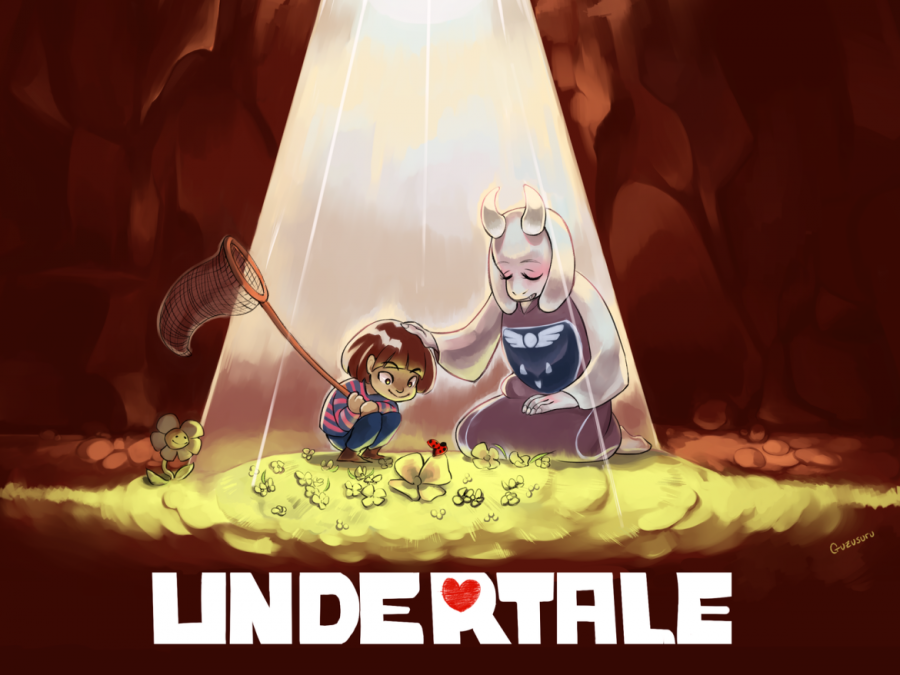 """A poster depicting official art for """"Undertale."""" The game follows a child who has fallen into a world of monsters."""
