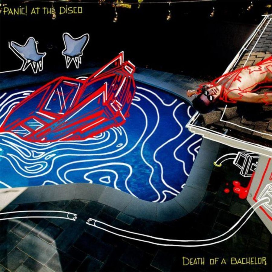 """Official album cover for Panic! at the Disco's """"Death of a Bachelor."""" It received a score of 65 out of 100 on Metacritic."""