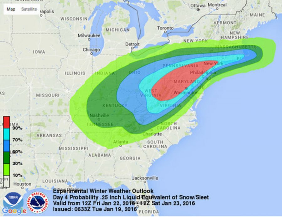 This image shows an early computer model forecasting the chances of a windy, strong sleet-snow storm hitting the East Coast this weekend.