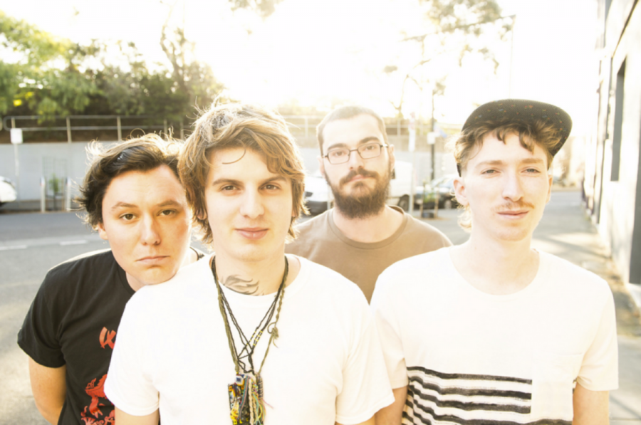 The Front Bottoms band members Brian Sella (L-R), Mathew Uychich, Tom Warren, and Brian Uychich.