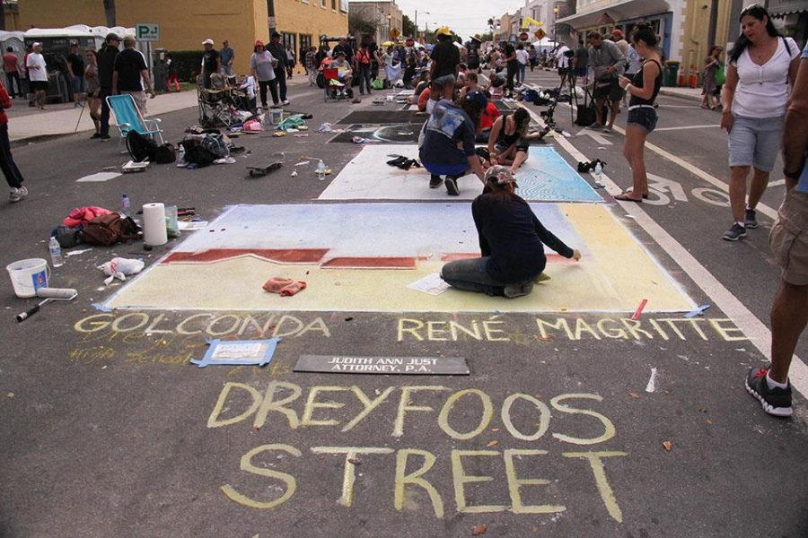 Dreyfoos students of all grades and majors joined together on Feb 21-22 at the Lake Worth Street Painting Festival. Dreyfoos was given the north end of J street to use, and over 40 students attended and worked on pieces.