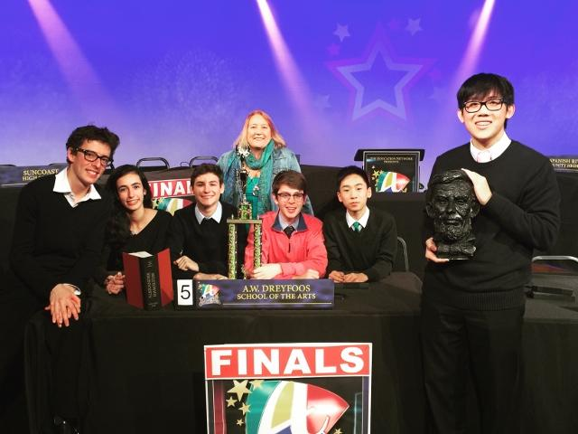 Dreyfoos' Academic Games team, consisting of band senior Charles Comiter (L-R), piano senior Laura Bomeny, band senior Philipp Popp, band senior Ethan Weatherdon, communications junior Michael Wang, and piano junior Stefan Wan, won first place at the Academic Games against Atlantic, Suncoast, Spanish River, John I Leonard, and Wellington on Jan. 28. Social studies teacher Sara Stout (fourth from left) was their sponsor.