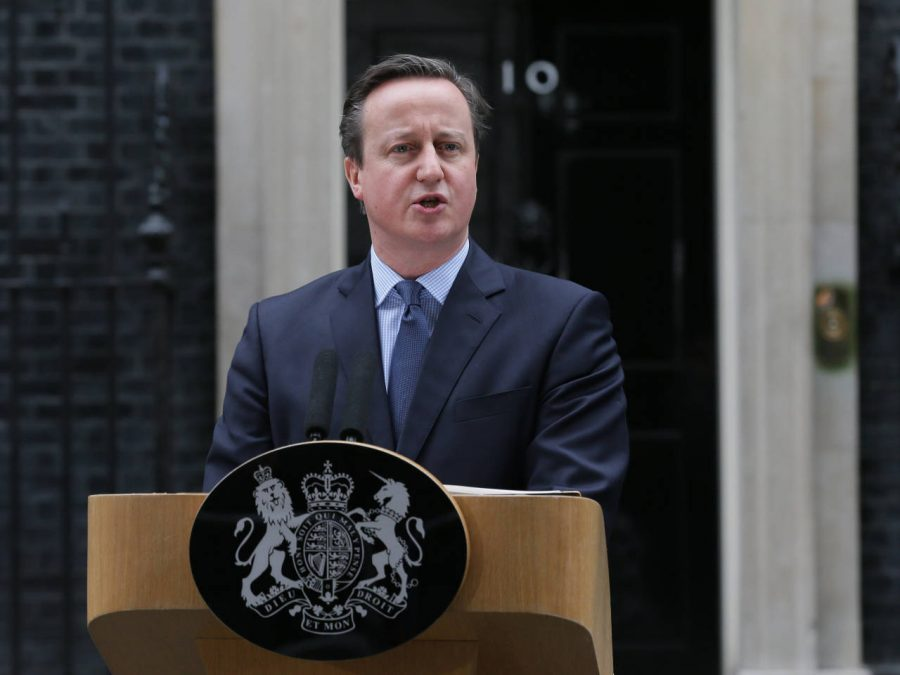 British Prime Minister David Cameron makes a statement outside 10 Downing Street in London on Saturday, Feb. 20. Cameron stated that a historic referendum on whether to maintain the UK's position in the European Union will be held on June 23.