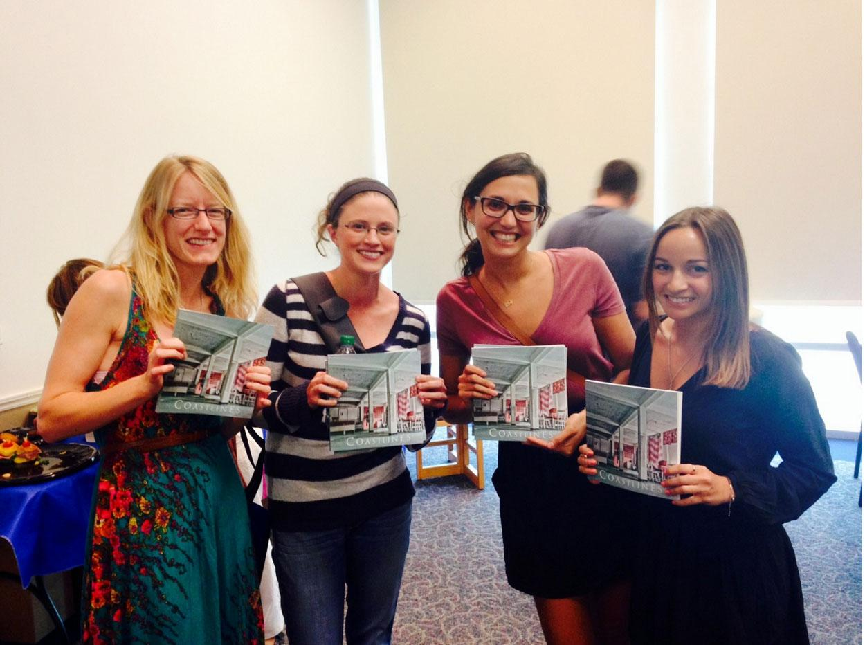 Artist in Residence Brittany Ackerman (far right) poses with her Florida Atlantic University peers at the 2014 Aisling Award and Coastlines Launch.