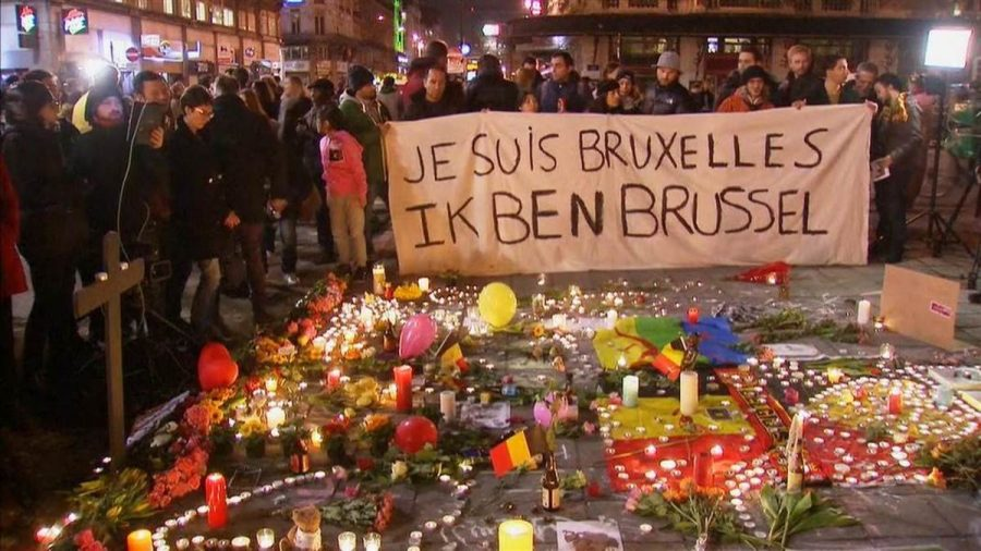 A vigil is held on Thursday, March 24 in Brussels, Belgium, where many paid their respects after the recent terror attacks.