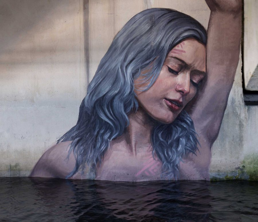 Sean Yoro, or better known as The Hula, recently painted a mural underneath the North Park Bridge. The artist worked for a week and used a ladder-scaffolding system to achieve the final result.
