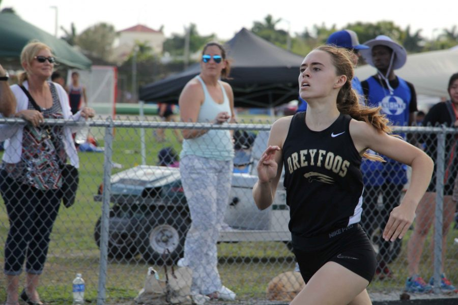 Theatre sophomore Madison Burmeister competes in a sprinting event at the track and field team's fifth meet held at The Kings Academy. In her 400m race she finished with a time of 1:06.