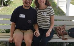 Piano alumni Ian Lao (left) and Cara Harbaugh (2014) visit Dreyfoos two years after their graduation.
