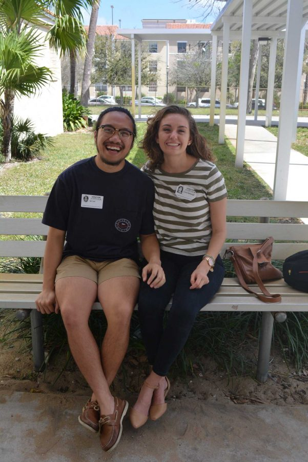 "Piano alumni Ian Lao (left) and Cara Harbaugh (2014) visit Dreyfoos two years after their graduation.  ""The advantages of dual enrollment and APs should be reported. You don't realize how helpful dual enrollment is. I could have saved more than $1000,"" Harbaugh said. ""If we were told more that in high school, it would have been very profitable."""