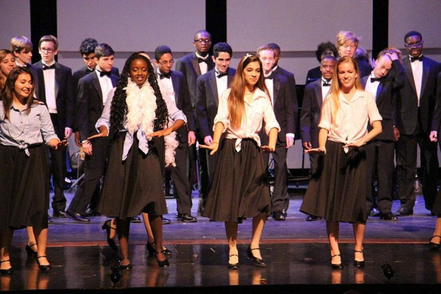 """Vocal majors perform a cheerful rendition of """"Always Look on The Brightside of Life,"""" bringing a smile to the spectators' faces."""