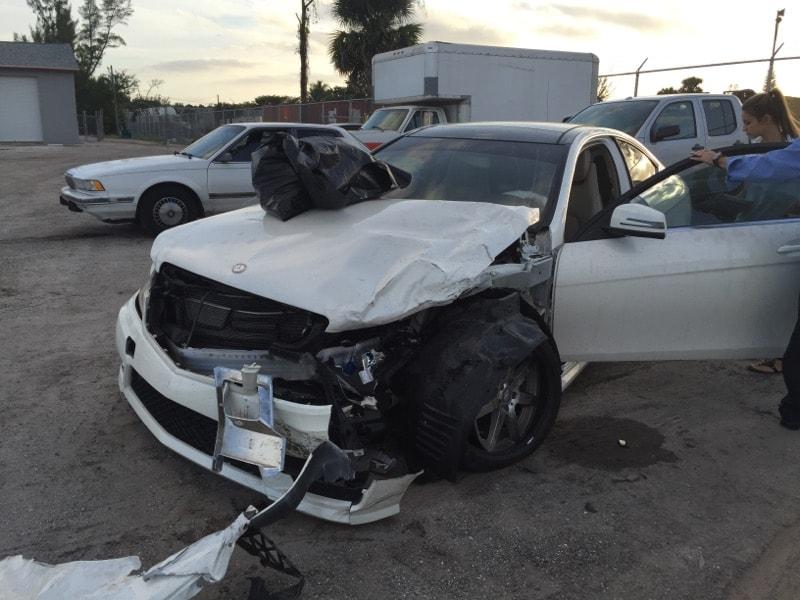 Digital media junior Lindsey Trinchet's car after the accident.