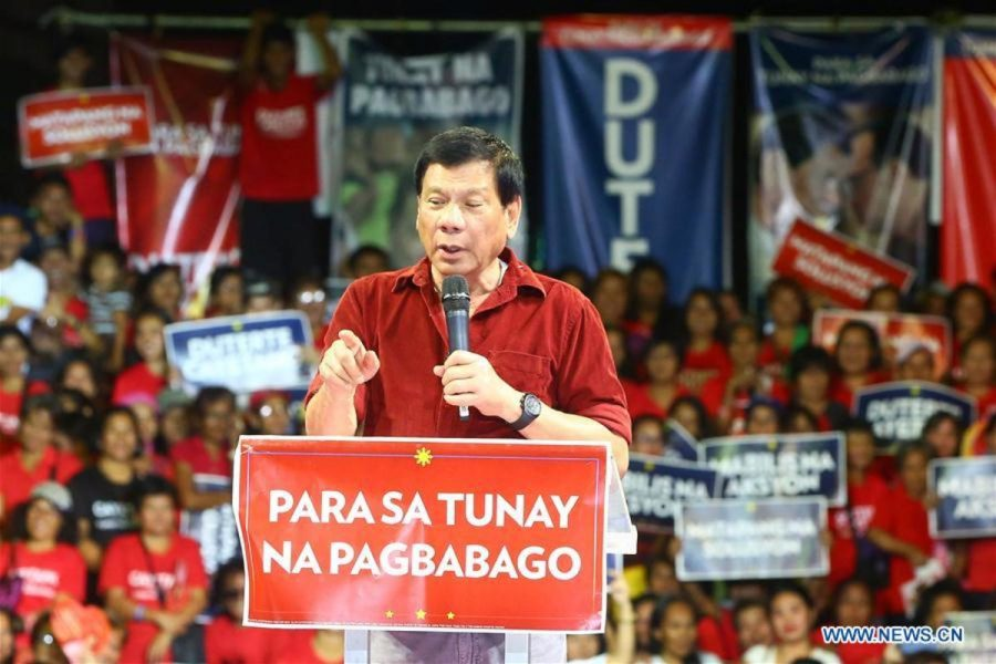 Presidential candidate and Davao city mayor, Rodrigo Duterte, speaks during his campaign in Manila,  Philippines on Feb. 9, 2016. The 90-day campaign period for the national candidates in the Philippine May elections officially starts Tuesday.