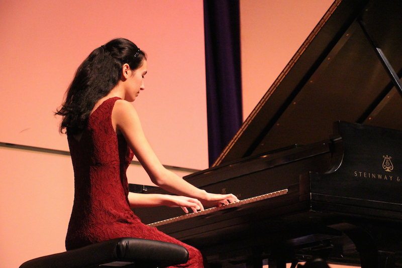 Piano senior and department president Laura Bomeny plays a solo piece in the