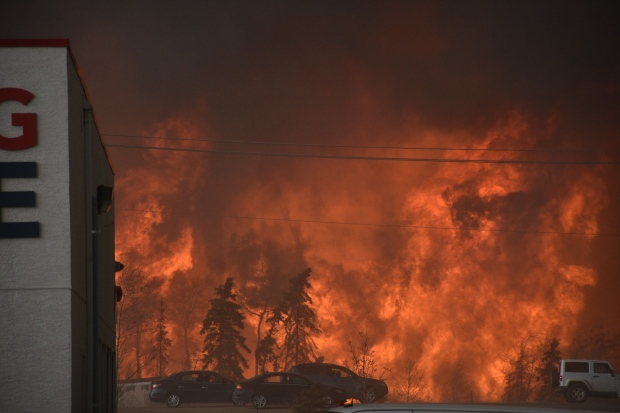 The out of control wildfire located near Fort McMurray in Alberta.