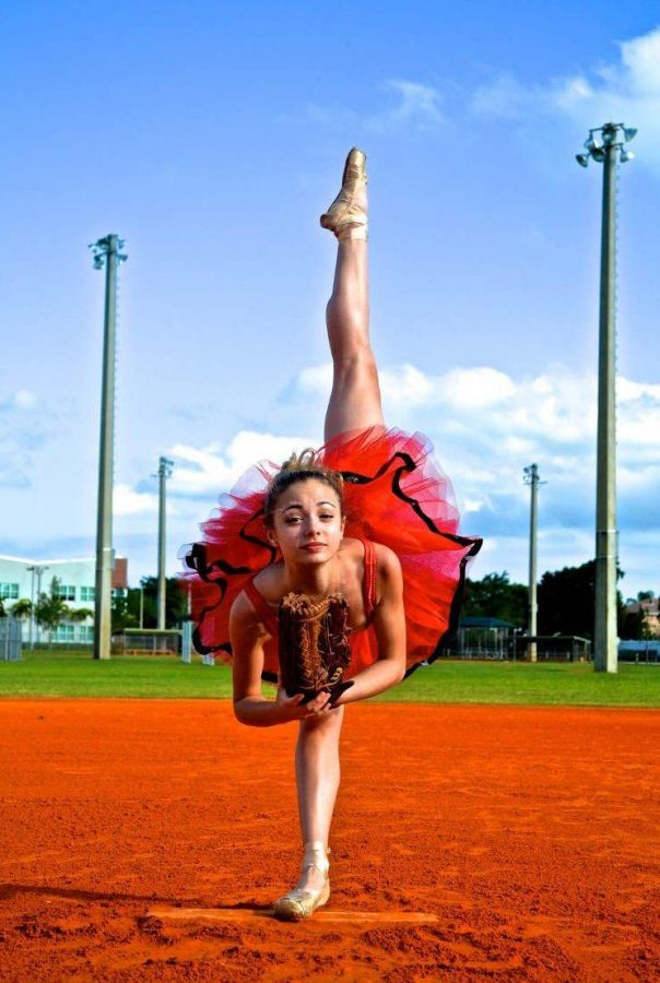 Dance senior Ryan wood posses for dance senior Hope Spears' photo. This photo is well known by Dreyfoos students as it can be found in Seeds. Spears won Seeds' Collaboration Award her sophomore year. This photograph also awarded Spears' with the