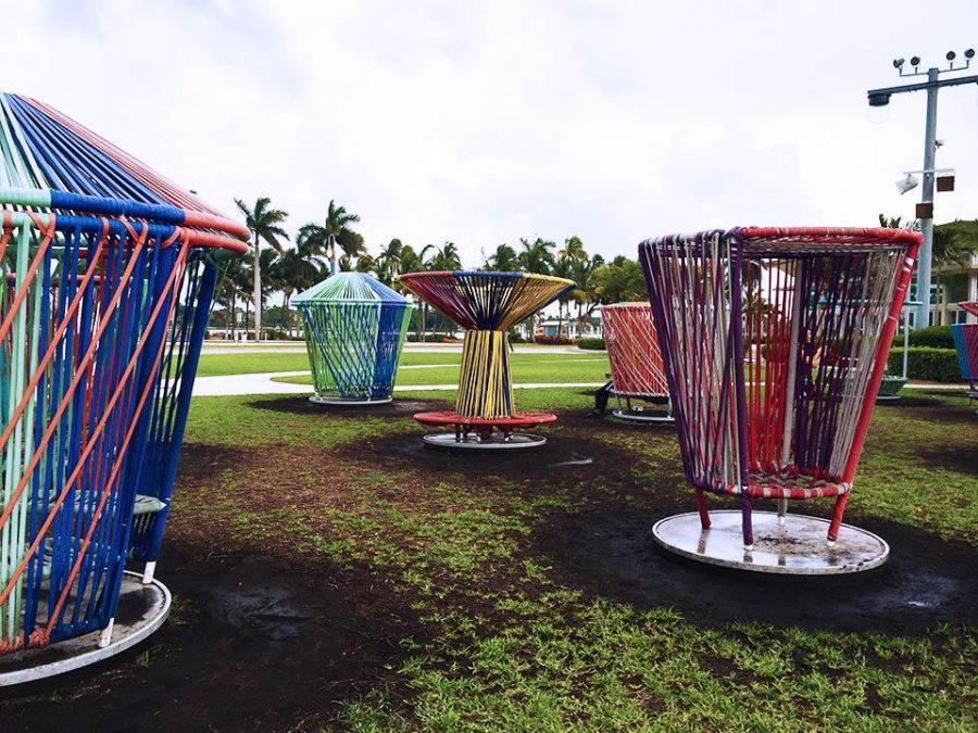 Los Trompos, or the Spinning Tops, are shown here on Clematis' Great Lawn. The interactive art piece has been open since June 2, from 10:00 a.m. to 10:00 p.m., and will be leaving the waterfront on Aug. 28.