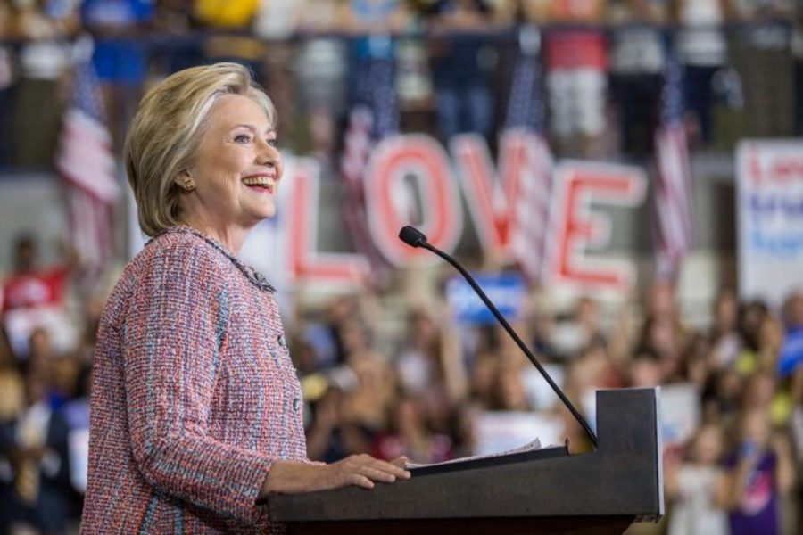 2016 Democratic Presidential Nominee Hillary Clinton speaking at her first event after being diagnosed with pneumonia.
