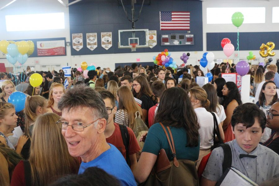 Students and teachers alike crowd into the gym for Dreyfoos' annual Club Rush held this year on Sept. 20.