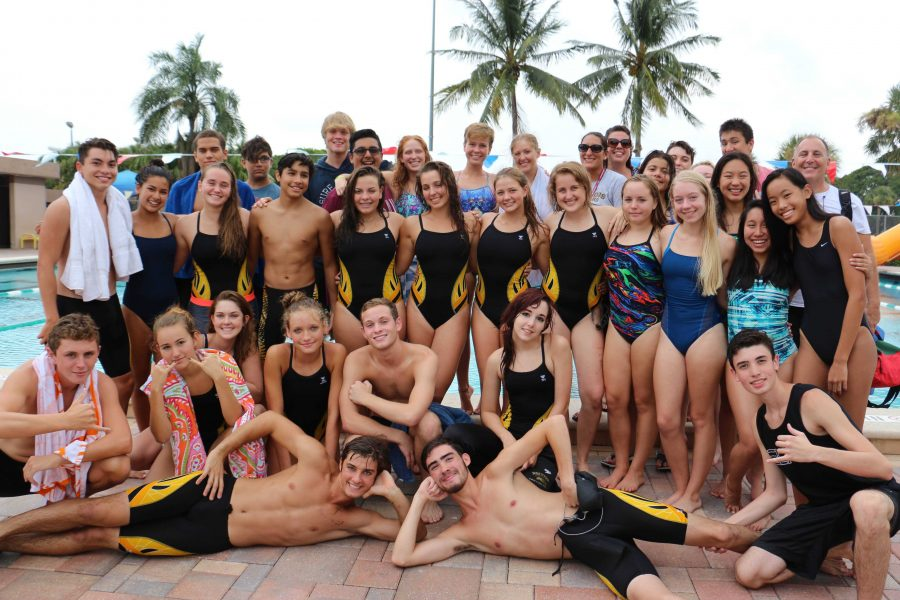 Members of the Dreyfoos swim team after winning their home game at Gaines Park, West Palm Beach.