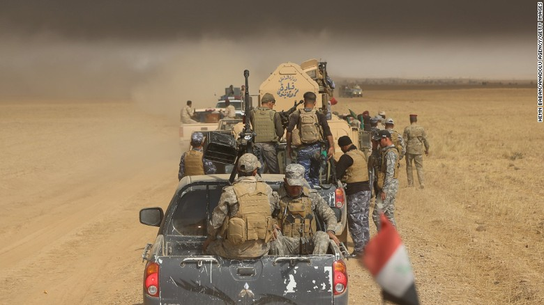 An Iraqi army on their way to Saleh village to fight against ISIS.