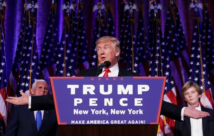 President-elect Donald Trump gives his acceptance speech at an election party at a New York City Hilton hotel with his family and Vice President-elect Mike Pence.