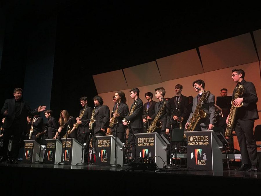 Director and band instructor Evan Rogovin presents the Zero Hour Jazz ensemble, as the audience delivers a standing ovation.