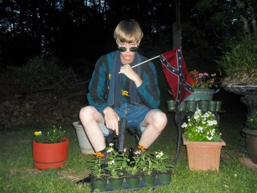 A photo from a white supremacist website showing Dylann Roof, the suspect in the Charleston, South Carolina, church shooting.