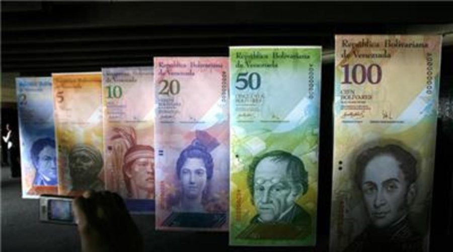 The different currency denominations of Venezuela, which is currently grappling with an economic crisis in the face of inflation.