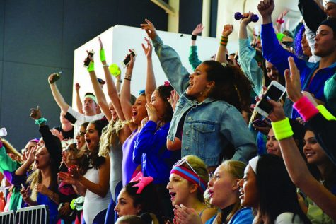 Students gathered in the gym during lunch to watch each class perform its generation dance. Seniors stood in the bleachers while chanting their graduating year and cheering on their classmates.