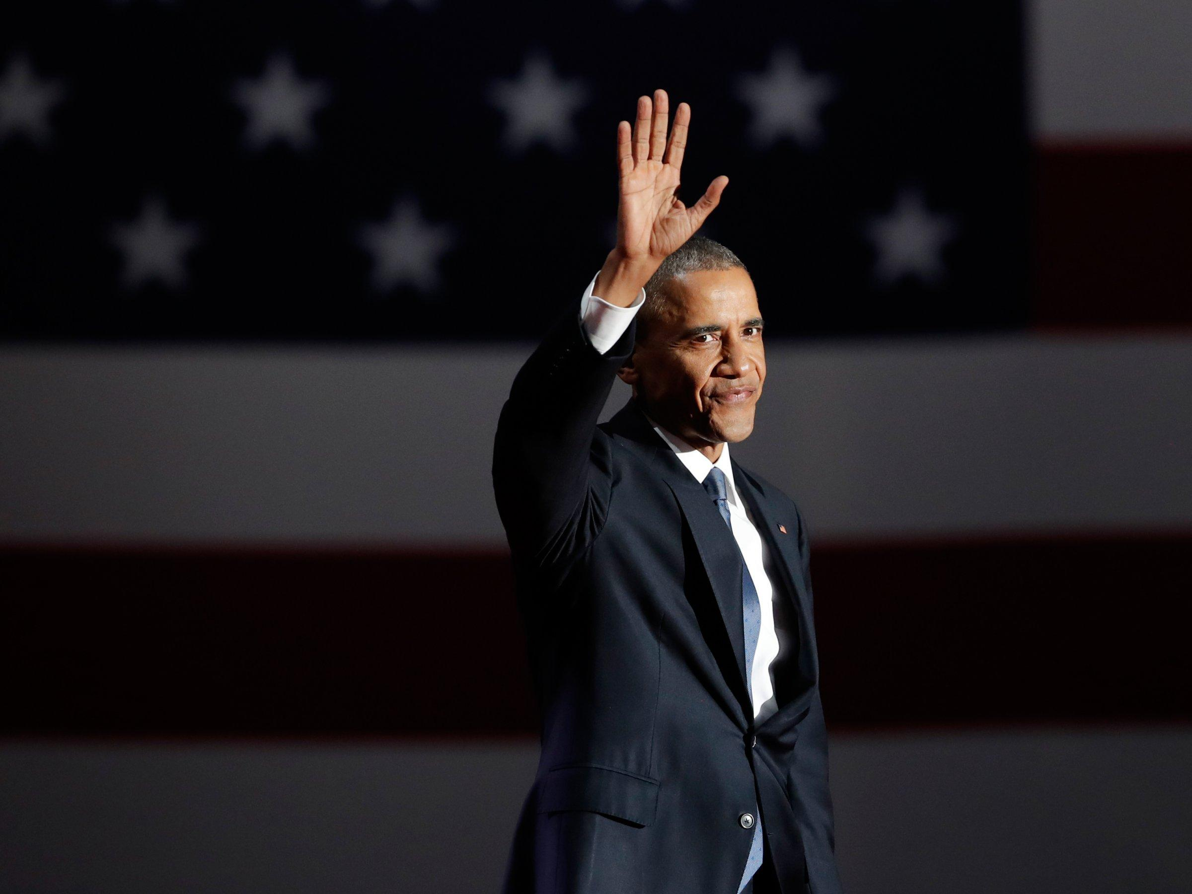 President Barack Obama at his farewell address in Chicago on Tuesday, Jan. 10.