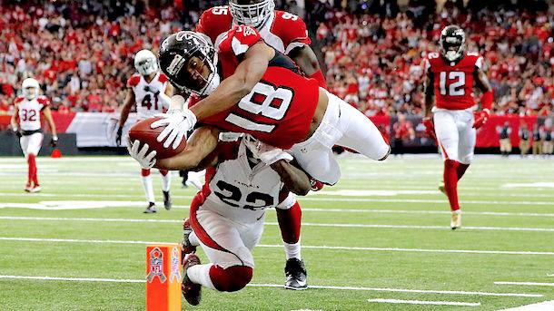 Taylor Gabriel dives for the end zone in his first game as an Atlanta Falcon.